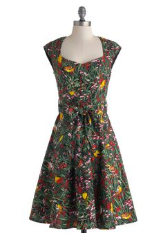 What a Tweet! Dress. Youll be chirping with joy each time you don this floral dress, for its vibrant print makes any occasion a true delight! #multi #modcloth