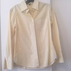J. Crew yellow and white striped button down shirt J. Crew yellow and white striped button down shirt. Size XS, slim fit. Very good condition, worn. J. Crew Tops Button Down Shirts