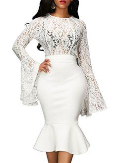 cd00383a16 Bluewolfsea Womens Sexy Lace Ruffles Long Sleeve Bodycon Skrit Fishtail  Dress 2 Piece Set White Bandage