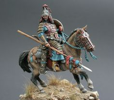 Painted by Michael Volquarts - Mongol Warrior - model horse