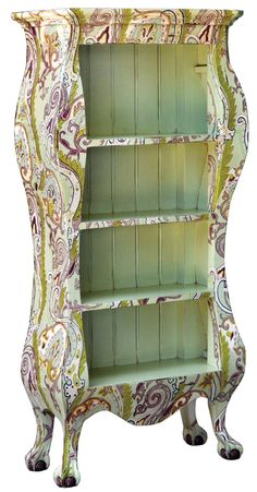 Steven Shell's paisley-painted shelf. Very beautiful with colors suited to a more traditional setting.