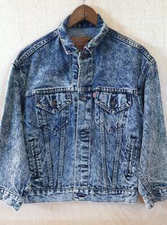 Vintage 1980s Hipster Levis Acid Washed Denim Jacket Mens Size Small/ Medium Womens Large by ForestaVintage on Etsy