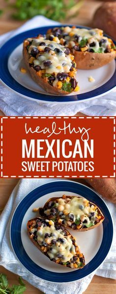Healthy Mexican Sweet Potato Skins | pinchofyum.com