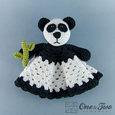Panda Lovey / Security Blanket PDF Crochet by oneandtwocompany Crochet Panda, Baby Afghan Crochet, Crochet Bebe, Crochet For Kids, Crochet Yarn, Baby Snuggle Blanket, Lovey Blanket, Baby Blankets, Crochet Security Blanket
