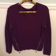 """INC Macy's Sz M Purple Zipper Sweater EUC!  INC    Ribbed knit sweater with zipper embellishments. Open knit detailing.    Size L, but runs small. Better for size Medium!   Purple   Nylon, acrylic & wool       Excellent used condition!    Bust:  17.5"""" across the front, lying flat. Has stretch!   Length:  23"""" from shoulder to hem.   ✳️ Bundle to Save 20%!  ❌ No Trades, Holds, PP   100% Authentic!    Suggested User // 800+ Sales // Fast Shipper // Best in Gifts Party Host!  INC International…"""