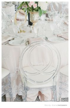 Grace Chairs from Detailz Chair Couture Dinner Table, Table Linens, Table Settings, Chairs, Blush, Couture, Table Decorations, Classic, Wedding