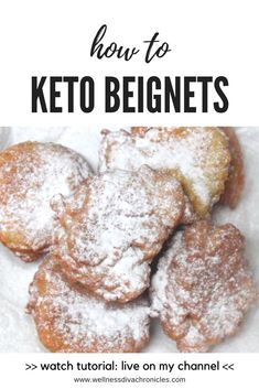 This is a food tutorial demonstrating how to make Keto (low carb, high fat) beignets, native to New Low Carb Doughnuts, Low Carb Donut, Keto Donuts, Low Carb Keto, Keto Foods, Keto Snacks, Healthy Foods, Low Carb Desserts, Low Carb Recipes