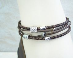 Ankle Bracelet, Bracelet, Brown Braided, Leather Anklet, Bohemian Style, Double Wrap Anklet, Slave Ankle Braclet,   by Feralspassage on Etsy
