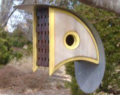 Modern Bird houses Birdhouse with a View Bird by MikeMerrittArt Bauhaus, Modern Birdhouses, Barn Tin, Birdhouse Designs, Spring Birds, Bird Boxes, Bird Feeders, Cage, Modern Design