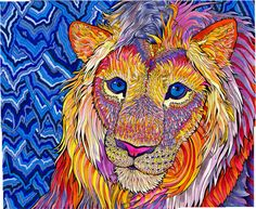 Kaleidoscopic King Psychedelic Lion Trippy by PaintMyWorldRainbow, $15.00