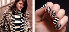 Leopard Print and Black and white nails.. LOVE