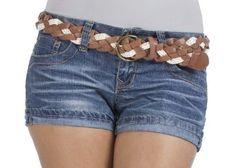 Wallflower Belted 5 Pocket Denim Short Short with Rolled Cuff