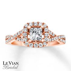 A princess-cut Vanilla Diamond is the main course in this luscious engagement ring from Le Vian Bridal®. Round Vanilla Diamonds® frame the central diamond and are poured along the band to complete the decadent look. Styled in 14K Strawberry Gold®, the ring has a total diamond weight of 1 1/6 carats. Le Vian®. Discover the Legend. Diamond Total Carat Weight may range from 1.145 - 1.17 carats.