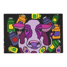 Funny Purple Cow and Milk Jugs Abstract Placemat #cows #purple #funny #placemats #abstract #art And www.zazzle.com/inspirationrocks*