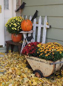 Fall front porch with picket fence