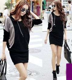 Fasion Korean sweet Long Sleeve Casual clothes short Dress | eBay