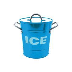 Blue Ice Bucket with Tin Scoop.