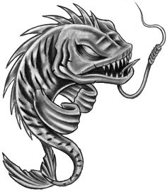 Fish Skeleton Pisces Tattoos Stencil photo - 1