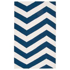 Surya Frontier Brave Zigzag White/Dark Blue Hand Woven Rug.@zinc_door #zincdoor #rugs #new
