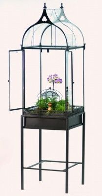 The tall regent house terrarium from H Potter. The ogee shaped, all glass roof always makes people look twice. The tall regent house terrarium is a big seller. Flat black powder coated finish.