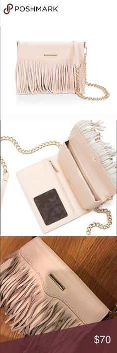 Rebecca Minkoff Fringe Crossbody Beautiful light pink Rebecca Minkoff Fringe Crossbody / Phone Case. I replaced one of the links but it's not noticeable. Rebecca Minkoff Bags