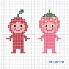 りんごとイチゴ。りんごは「赤の全身タイツ着た人じゃん」と思われるかも・・・。チャートはこちら(KG-Chart LE for Cross Stitchを使用して作りました)使用糸 DMC (色番号)りんご: (347) イチゴ: (3832)(743)共通: 顔(754)目(31... Cross Stitch Designs, Cross Stitch Patterns, Cross Stitches, Pixel Art, Stitch Character, Cross Stitch Kitchen, Iron Beads, New Crafts, Crochet Chart