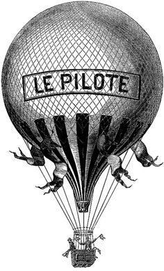 Vintage French Balloon Hot Air Digital by ImaginariumImages