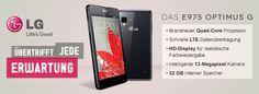Alles was das Herz begehrt - Das LG Optimus G hat es: Quad-Core-Prozessor, HD-Display, 13 MP Kamera, 32 GB Speicher und rasant schnelle Datenübertragung dank LTE. Shops, Quad, Smartphone, Electronics, Inspiration, Mobiles, Camera, Biblical Inspiration