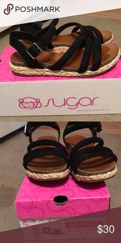 Worn once , left foot marks. Comes with box Make me an offer Sugar Shoes Sandals Espadrilles, Shoes Sandals, Sugar, Box, Closet, Things To Sell, Espadrilles Outfit, Snare Drum, Armoire