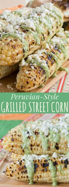 Peruvian-Style Grilled Street Corn - corn on the cob slathered with fresh and spicy Aji sauce and cheese is an easy summer side dish recipe! Gluten free | http://cupcakesandkalechips.com