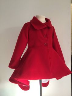 Ready to ship Girls Red Wool Tailored Coat. Girls size 4 | Etsy