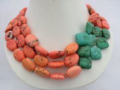 Three Strand Pink Coral Brown and Turquoise by RagayJewelry