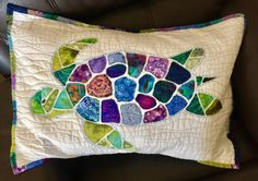 Quilting Projects, Quilting Designs, Sewing Projects, Quilting Ideas, Quilt Block Patterns, Quilt Blocks, Sea Turtle Quilts, Watercolor Quilt, Nautical Quilt
