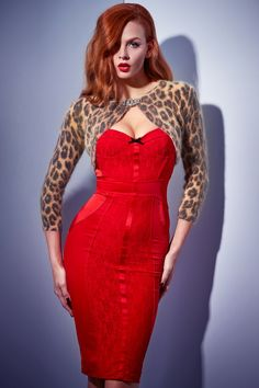 Wheels and Doll Baby - leopard print shrug and red dress