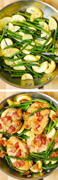 Chicken Asparagus and Bacon Skillet yummy healthy gluten free packed with Paleo Recipes, Low Carb Recipes, Dinner Recipes, Cooking Recipes, Wheat Free Recipes, Chicken Asparagus, Asparagus Skillet, Chicken Bacon, Chicken Sides