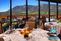 Indulge in a scrumptious brunch at the Mountain View Restaurant overlooking Cheyenne Mountain #ColoradoSpringsVacation
