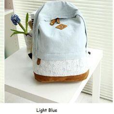 Fashion Floral Lace +Denim Canvas Women Bag Backpack School bag For Teenagers Ladies Girl Back Pack Schoolbag Bagpack Mochila