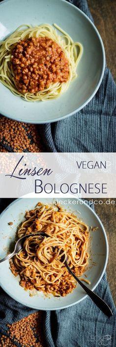 Pasta with Lentil Bolognese - Vegetarisch - Vegan Lentil Bolognese Vegan, Lentil Pasta, Bolognese Pasta, Bolognese Recipe, Vegan Vegetarian, Vegetarian Recipes, Healthy Recipes, Diet Recipes, Juice Recipes