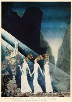 Kay Nielsen Norwegian folk tale fairy tale The Three Princesses vintage art nouveau print illustration home decor inches Kay Nielsen, Vintage Prints, Vintage Art, Art Nouveau, East Of The Sun, Blue Mountain, Book Gifts, Illustrators, Fairy Tales