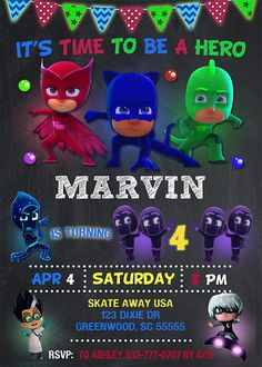 Pj Masks invitation birthday. PRINTABLE DIGITAL FILE This listing is for the creation and delivery of personalized digital files to print yourself. We dont send physical products! Pj Masks invitation includes personal digital high resolution file in JPEG format. You can select invitations for a boy or girl, size 4x6 or 5x7. *** Placing Your Order Before leaving, please complete the following form with your personalized party/event details in the notes to seller: Name: Age: Date: Ti...