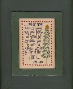 And the Angel Said Stitchery Pattern by Mac- A- Doodles. $8.00, via Etsy.