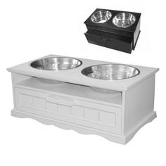 Storage Drawer Elevated Dog Feeders   Wooden Raised Dog Feeding Diners