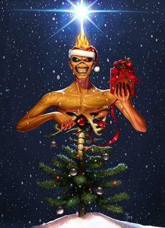 Iron Maiden Eddie Christmas Tree - oh how I love this 😂 Iron Maiden Album Covers, Iron Maiden Albums, Heavy Metal Bands, Hard Rock, Iron Maiden Mascot, Iron Maiden Posters, Eddie The Head, Iron Maiden Band, Rock Y Metal