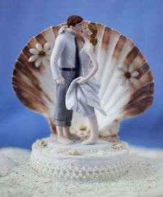 Beach Get Away Shell Wedding Cake Topper. $48.95