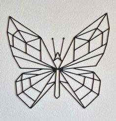 Geometric Drawing, Geometric Designs, Geometric Shapes, Pattern Drawing, Pattern Art, Butterfly Wall Decor, Butterfly Nursery, Wire Wall Art, Wall Décor