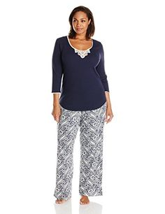 Fashion Bug Womens Plus Size Vintage Knit Medallion Pajama Set Plus www.fashionbug.us #plussize #fashionbug #sleepwear
