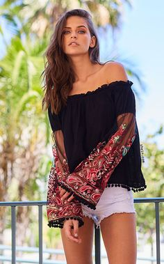 Black Ruffle Off The Shoulder Embroidered Bell Sleeve Top Embroidered  Blouse ece94d2959c