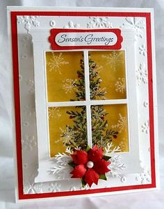 Window Christmas Tree Card Using Stampin Up Lovely as A Tree Stamp Set | eBay