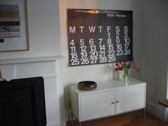 Ikea PS and giant calendar Ikea Hacks, Giant Calendar, Ikea Ps Cabinet, Door Sixteen, Cabinet Inspiration, Interior Decorating, Interior Design, New Living Room, Living Spaces