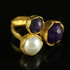 Triple Flower Ring with amethyst stones
